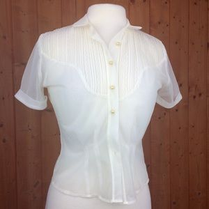 Vintage 50s Sheer Ivory Pearl Button Blouse S